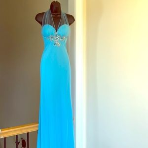 CASSANDRA STONE sz 6 sky blue gown formal prom